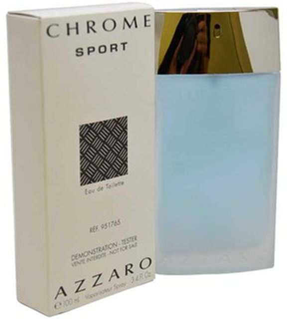 Chrome Sport Eau De Toilette by Azzaro For Men 100 ML in White Tester Box