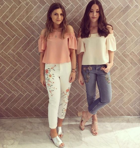 Twinning is winning Personal Shoppers style pastel bardot tops with our favourite new denim - the floral embroidered Mom jean. #Topshop