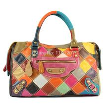 2014 New Fashion coloful Shoulder Bags  cowhide Leather color matching Handbags Women Handmade hot sale Weaving Bags