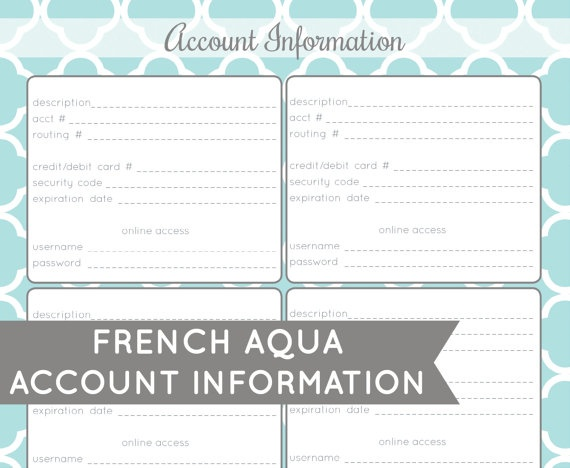 account information printable