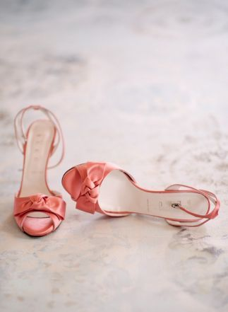 love these salmon colored wedding shoes! ~  we ❤ this! moncheribridals.com