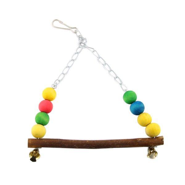#Balançoire #oiseaux sonore #bois et #boules multicolores pour offrir à votre oiseau une aire de jeu colorée !  #oiseau #perruche #calopsitte #perroquet