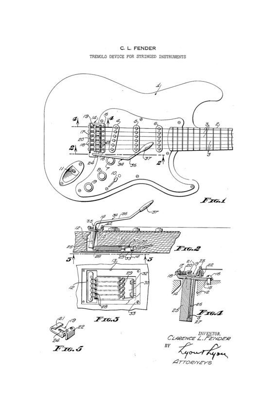Fender Stratocaster Guitar 1950's Patent Art by