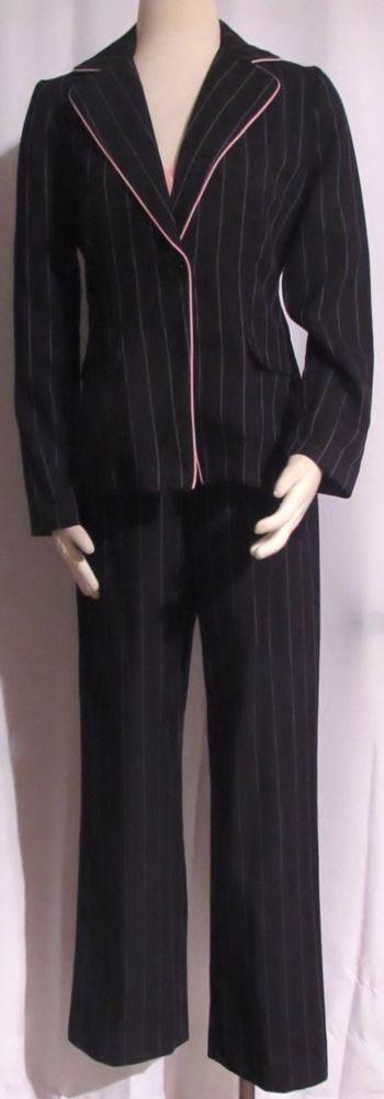 Ladies Juniors SUITS US Black & Pink Pinstripe 3 Piece Jacket Top Pants Suit 7/8 #SuitsUs #PantSuit
