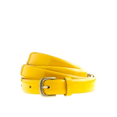 Patent leather skinny belt in yellow of course!!!    http://www.jcrew.com/womens_feature/NewArrivals/accessories/PRDOVR~73569/73569.jsp