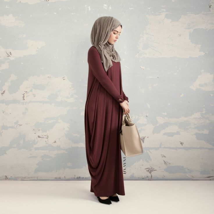 INAYAH | Plum Cascade #Abaya + Grey Knitted #Hijab www.inayahcollection.com