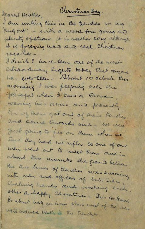 """""""I think I have seen one of the most extraordinary sights that anyone has ever seen..."""" The Christmas Truce of 1914. Alfred Dougan Chater's letter home."""