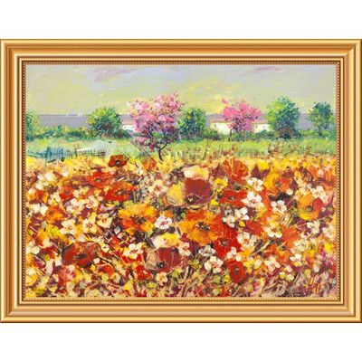 "Global Gallery 'Colori di Primavera' by Luigi Florio Framed Painting Print on Canvas Size: 22"" H x 28"" W x 1.5"" D"