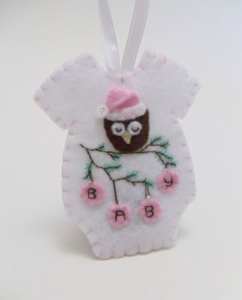 Christening Ornaments Baby Christmas Ornaments: Baby's First Christmas Felt Onesie Ornament Door