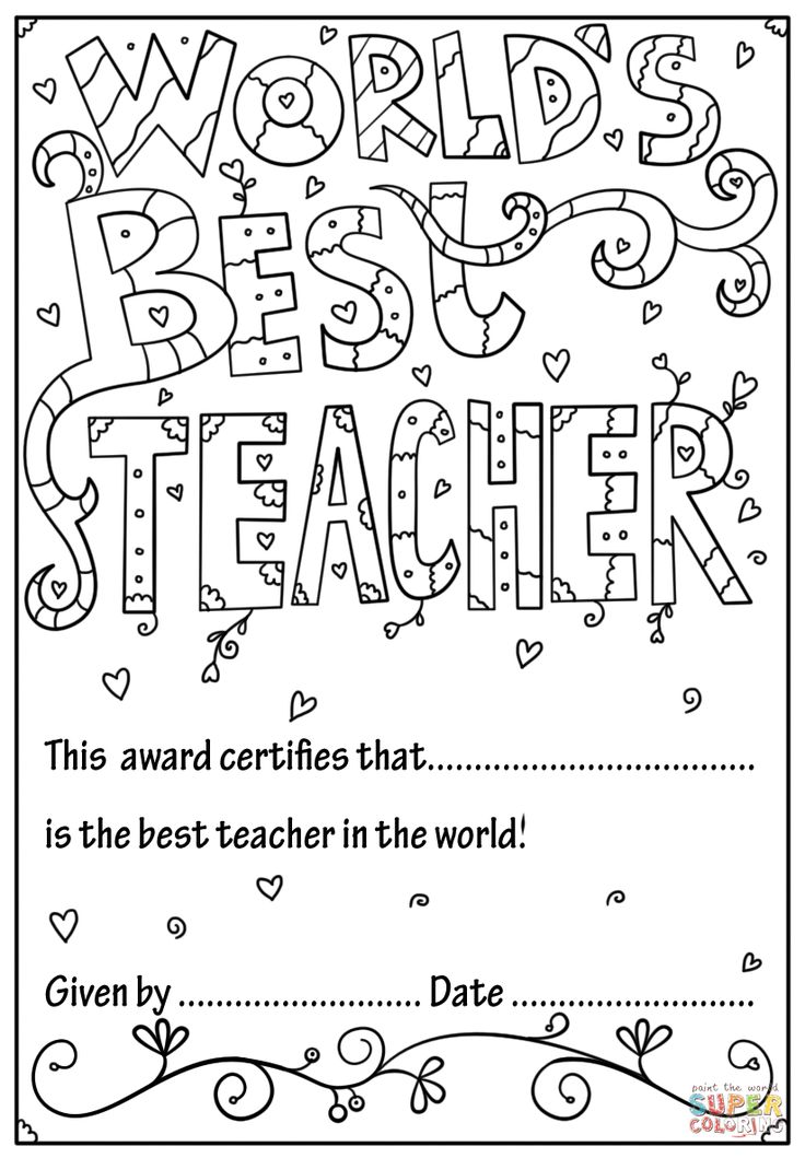 World's Best Teacher Diploma coloring page Free