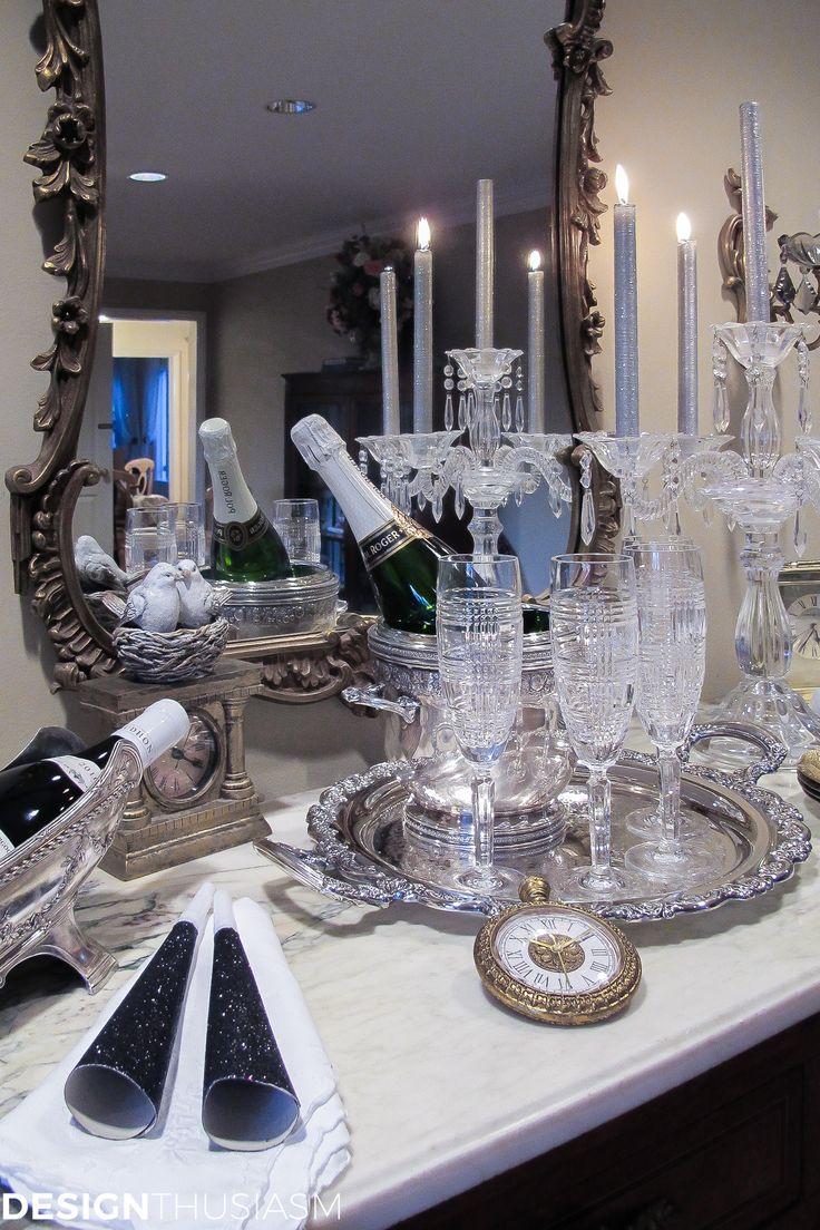 New Years Eve Decorations Using White Metallics