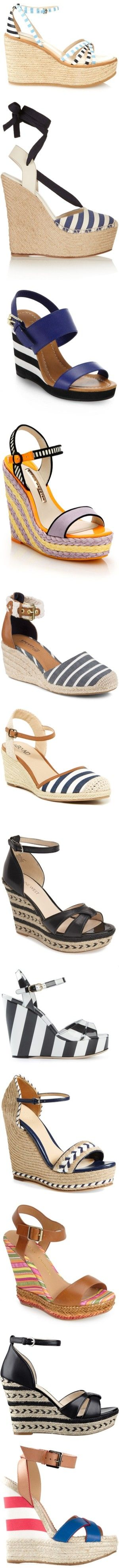 Summer Stripes: Cute Wedges by polyvore-editorial on Polyvore featuring stripedwedges, shoes, sandals, blue stripe, heels, strappy heel sandals, blue strappy sandals, strappy sandals, blue sandals and leather sandals