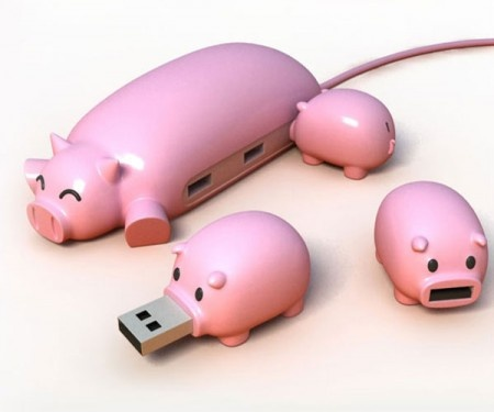 Mother pig as the USB hub and three little pigs as the UBS flash drives with retractable USB connector.   From WePlayGod http://www.officechums.com/