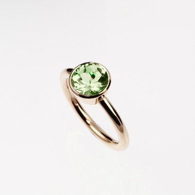 Peridot engagement ring made from rose gold by TorkkeliJewellery, $1219.00