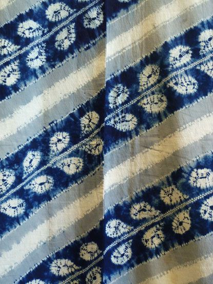 wisteria shibori yukata (detail) • taisho era • via sri threads