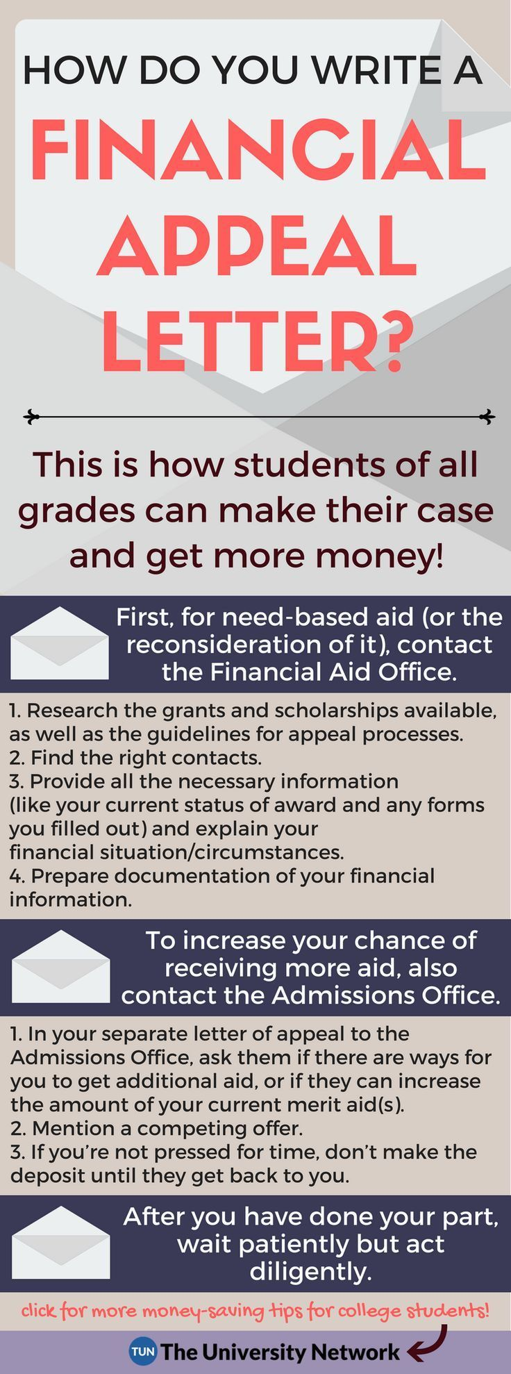 Acceptance letters come with a price tag. Learn how to write a financial appeal letter to get more money for college!