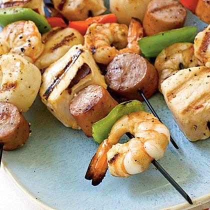 seafood kebabs.. yum :)Grilled Recipe Kabobs, Seafood Kabobs, Kebabs Recipe, Scallops Recipe, Kabobs Shrimp Scallops, Coastal Living, Seafood Kebabs, Easy Kebabs, Parties Food