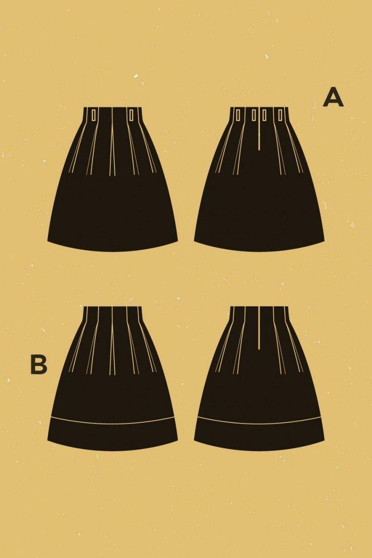 DEER & DOE - Jupe Chardon t. 34 - 46 PAPIER // * 120 x150 cm de tissu * 60 cm de tissu contrastant * 25 cm de zip * 50 cm de thermocollant fin * 2m de biais