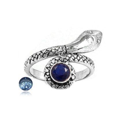 Sz 6.5, Evening Blue SAPPHIRE (Lab) Gemstone, 925 Solid Sterling Silver Sensual Snake (Wisdom) Theme Ring Jewellery! by Ameogem on Etsy