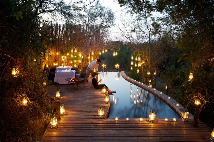 Londolozi Private Game Reserve. Lodge and restaurant in a game reserve. South Africa,Kruger National Park