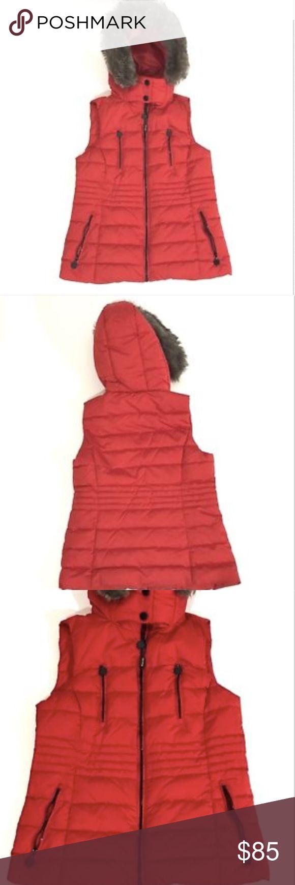 "Massimo Dutti Puffer Vest Sheephair Fur Hood Bust 18 1/2"" Length 25 1/2"" Maasimo Dutti Jackets & Coats Vests"