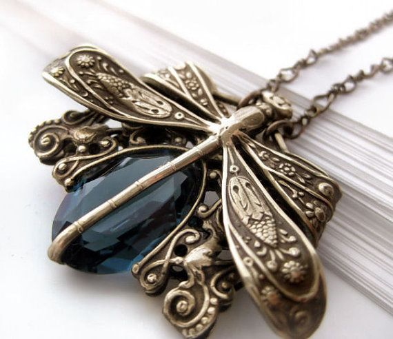 Victorian style vintage filigree dragonfly necklace.