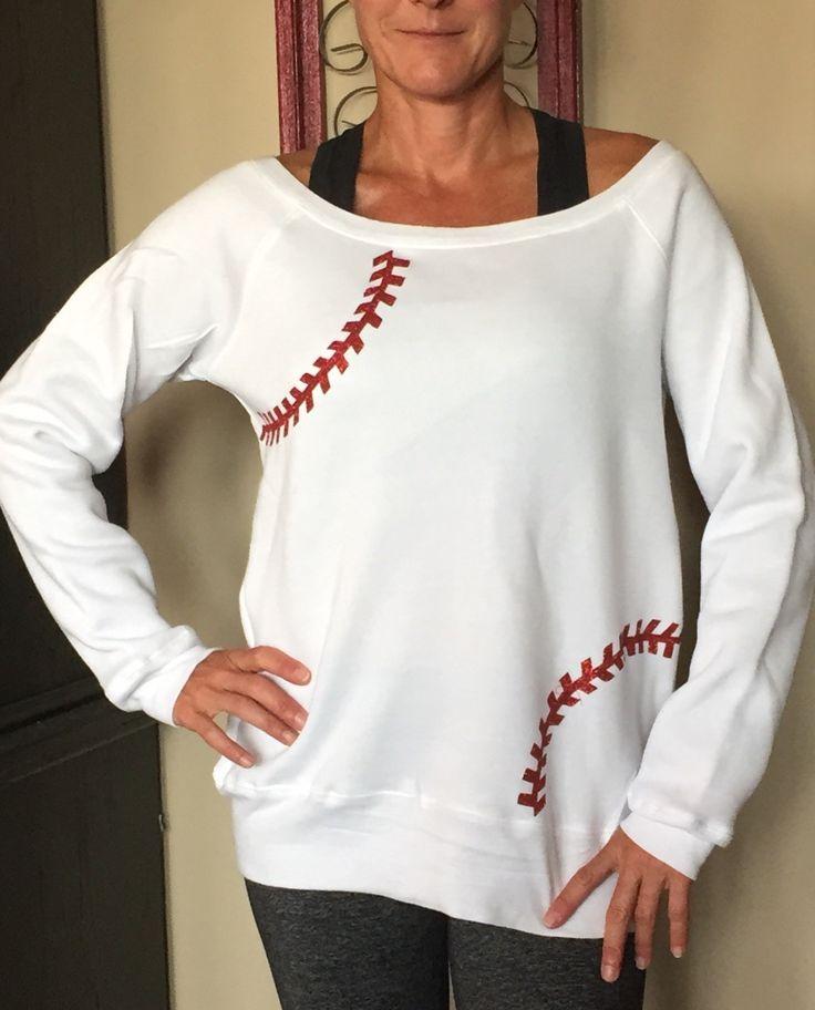 Baseball Alley Designs - Baseball Seams Off Shoulder Fleece in White, $32.00 (http://baseballalley.net/baseball-seams-off-shoulder-fleece-in-white/)