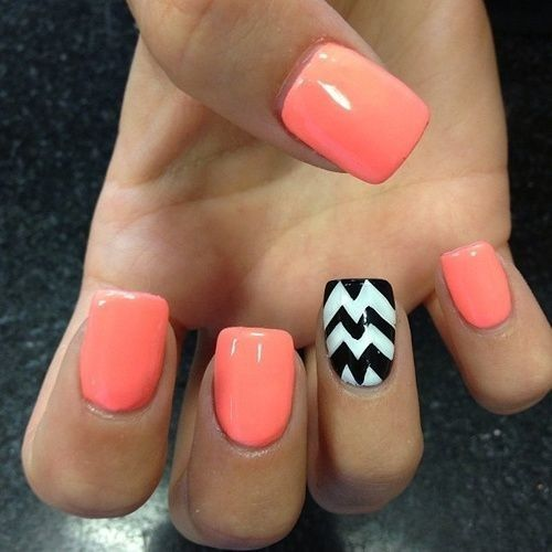 I love these nails!! I love how all of the nails are the same color except the ring finger stands out because of the black and white chevron. It may look hard but if u cut paper out and use it as a stencil it will turn out great!