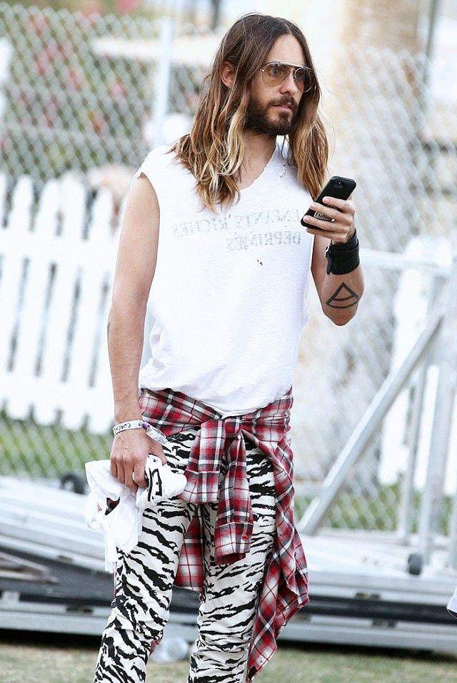 Mega babe Jared Leto rocking a grunge look at Coachella