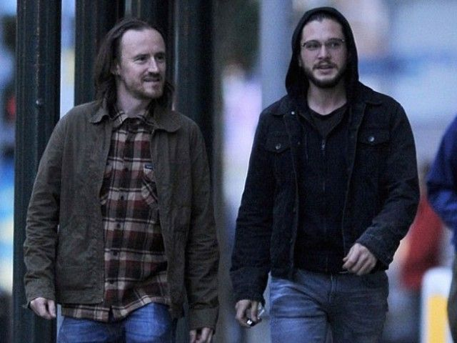 He was spotted chilling with fellow cast member Ben Crompton with his Jon Snow locks covered under his hoodie. PHOTO: WENN.COM