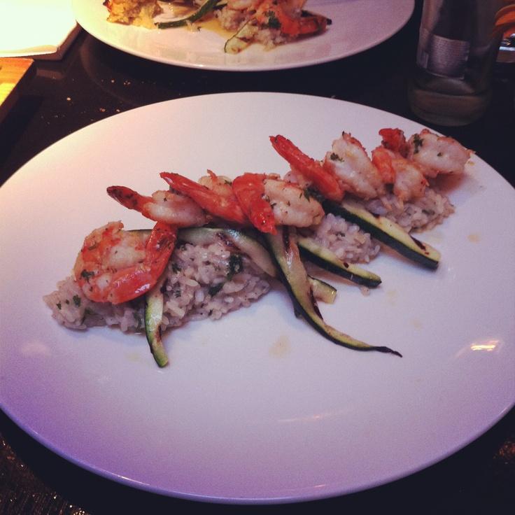 Risotto met gamba's & gegrilde courgette, Restaurant Dendy - Hooistraat 1, Den Haag