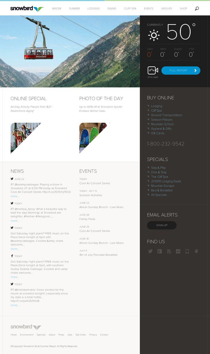 http://www.snowbird.com/  Przewijanie poprzez kliknięcie i przesunięcie, zamiast scrollowania.