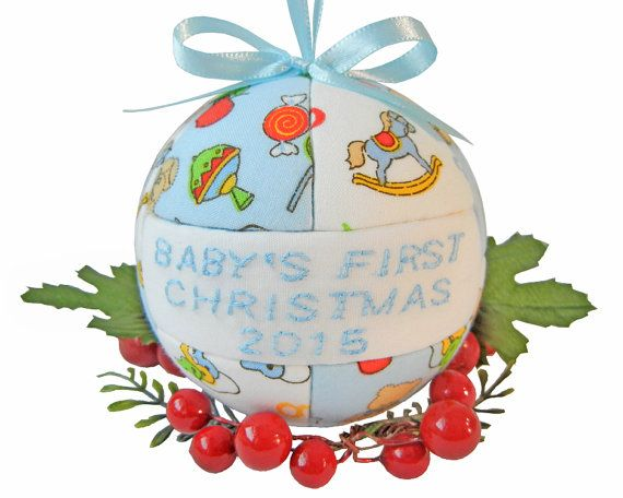 Blue Baby Shower Gift  2015 Babys First Christmas by craftcrazy4u