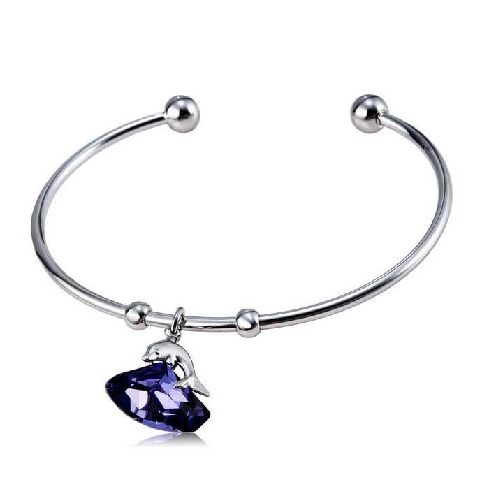 Women's Stylish Dolphin on Crystal Style Alloy Open Bracelet - Silver