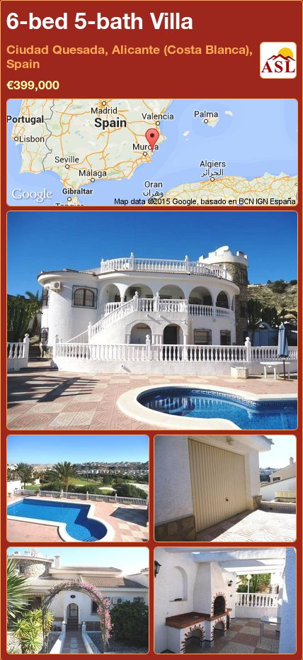 6-bed 5-bath Villa in Ciudad Quesada, Alicante (Costa Blanca), Spain ►€399,000 #PropertyForSaleInSpain