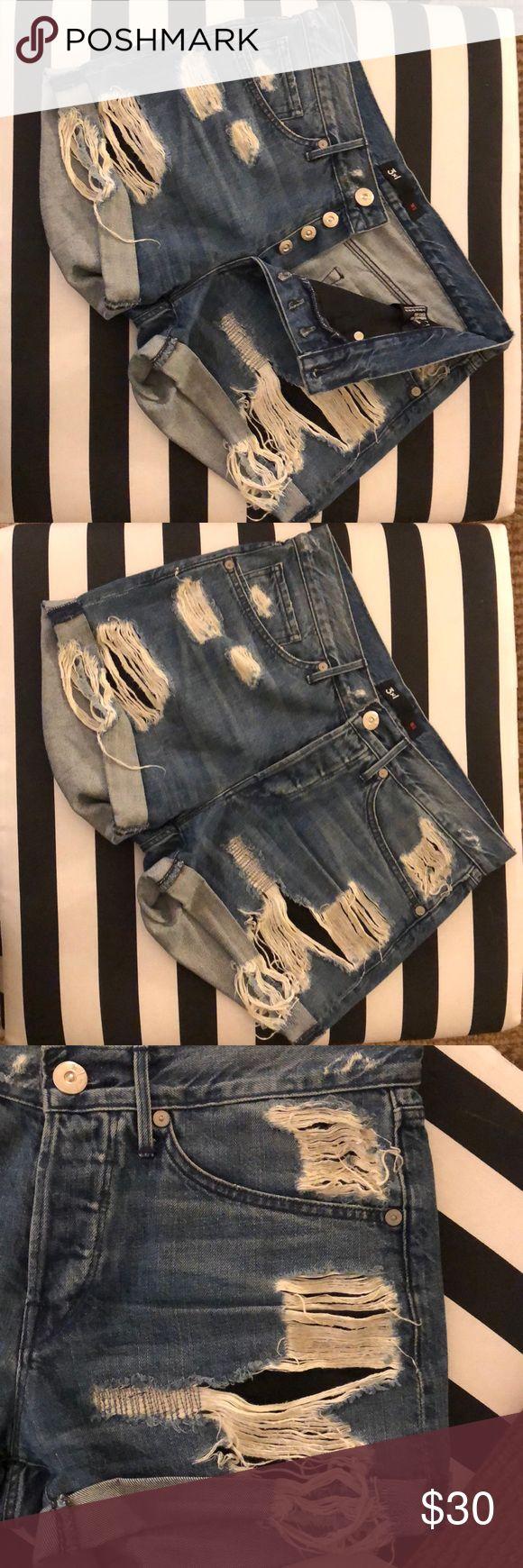 "3x1 denim cutoffs 3x1 denim distressed cutoffs. Black pocket lining to peek through holes on front. Cute comfy 100% Cotton. Button up closure. Staple for a wardrobe. 9 1/2"" rise and 3"" inseam 3x1 Shorts Jean Shorts"
