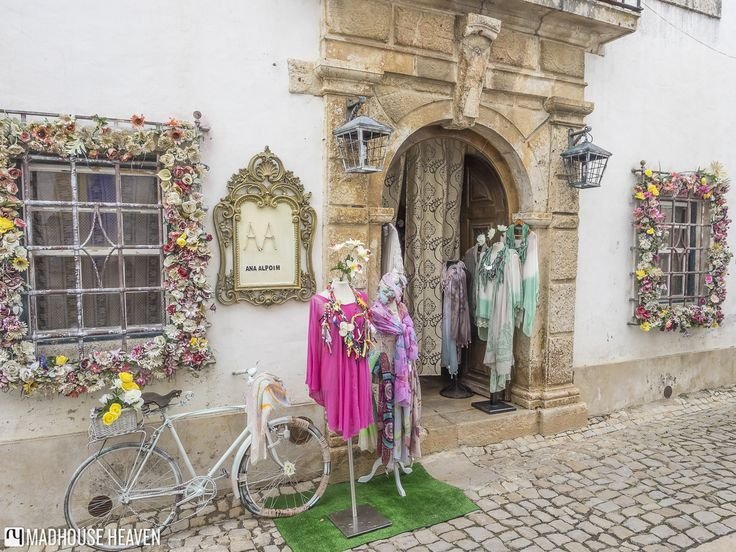 Shop selling clothing made with beautiful Portuguese fabrics, Óbidos, Portugal.