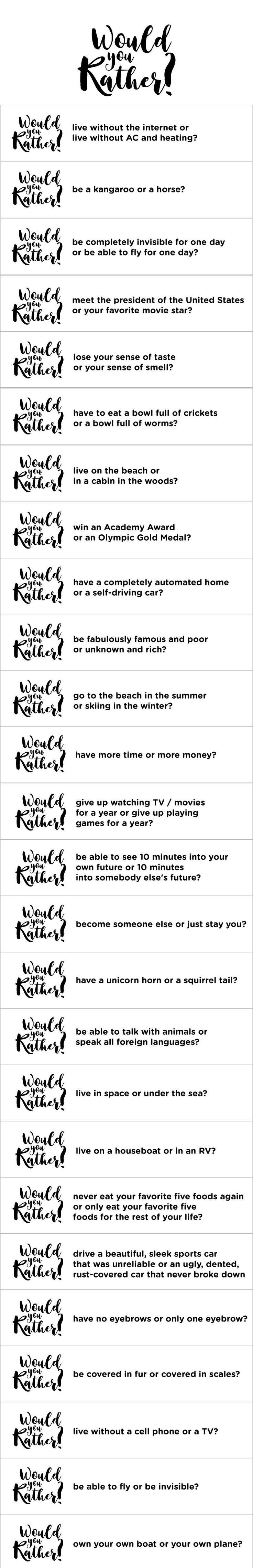 Would you rather questions for online dating