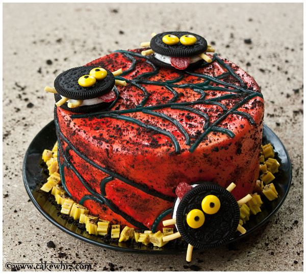 use this step by step tutorial to make a cute but spooky oreo spiders and twizzler spider web cake for halloween easy and fun to make with kids - Easy Halloween Cake Decorating Ideas
