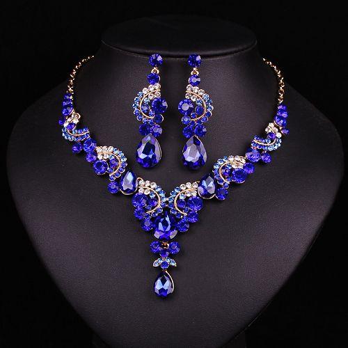 Nova moda do casamento Azul Safira conjunto de jóias de strass noivas dama de honra ou prom party banhado a ouro brinco colar set mulheres