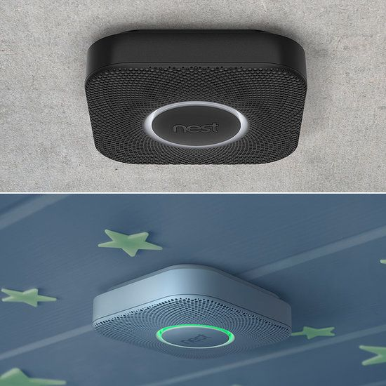 Nest Protect Smoke/Carbon Monoxide Alarm, WiFi enabled, sends notifications to your phone if alarm goes off or has low batteries. Automatically turns off your gas furnace if carbon monoxide alarm goes off.
