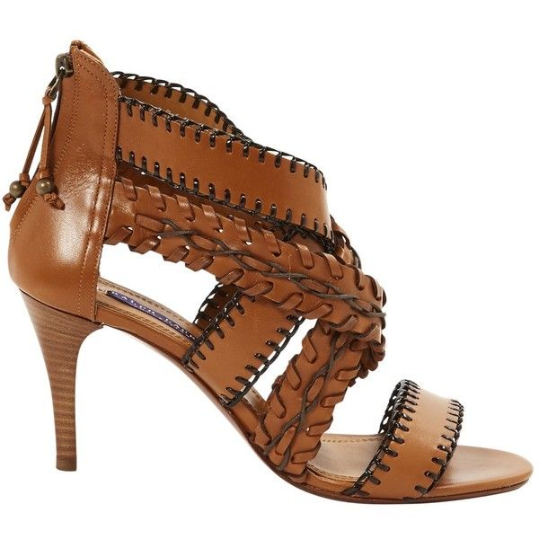 Pre-owned Ralph Lauren Leather Sandals ($374) ❤ liked on Polyvore featuring shoes, sandals, camel, women shoes sandals, camel sandals, pre owned shoes, ralph lauren shoes, camel shoes and leather shoes