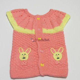 YünBeBeK - El Örgüsü Bebek Giysileri Blogu: Pembe Sarı Kız Bebek Yün Yelek Modeli