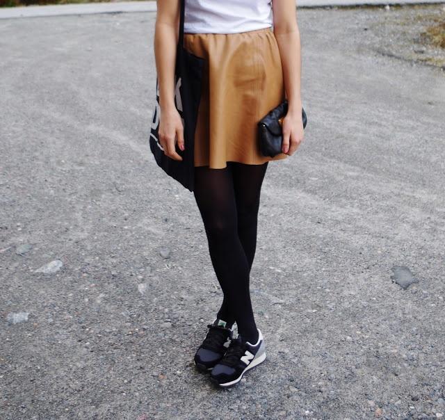 Filippa K skirt and New Balance