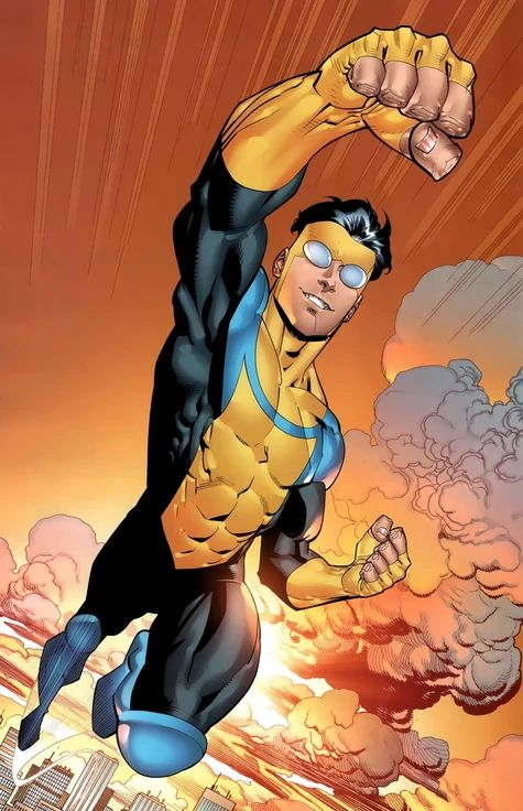 """Invincible, perfect integration of a lowercase """"i"""" as well as the Image Comics logo. Beyond genius. Comic Book Characters, Comic Character, Comic Books Art, Character Design, Image Comics Characters, Superhero Characters, Book Art, Comic Wallpaper, Invincible Comic"""