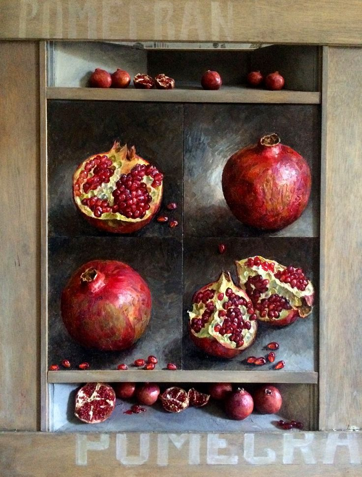 Full size painting - oil on panel - combined with shadow boxes incorporated in the frame. Pomegranates in shadow boxes are carved wood and glass beads.