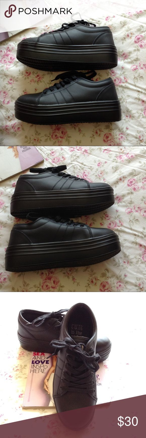 CUTE TO THE CORE BLACK PLATFORM  7 1/2 NWOT CUTE TO THE CORE GO BACK TO THE 90'S IN THESE BLACK VEGAN LEATHER, 2 INCH PLATFORM TENNIS SHOES, 7 1/2 NWOT CUTE TO THE CORE Shoes Platforms