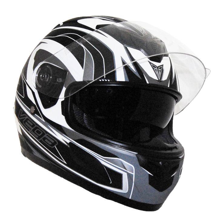 Helmet by Vega - Scooter Motorcycle Moped Helmets - Insight Full Face Flat White/Silver > Part #V6839SILV051