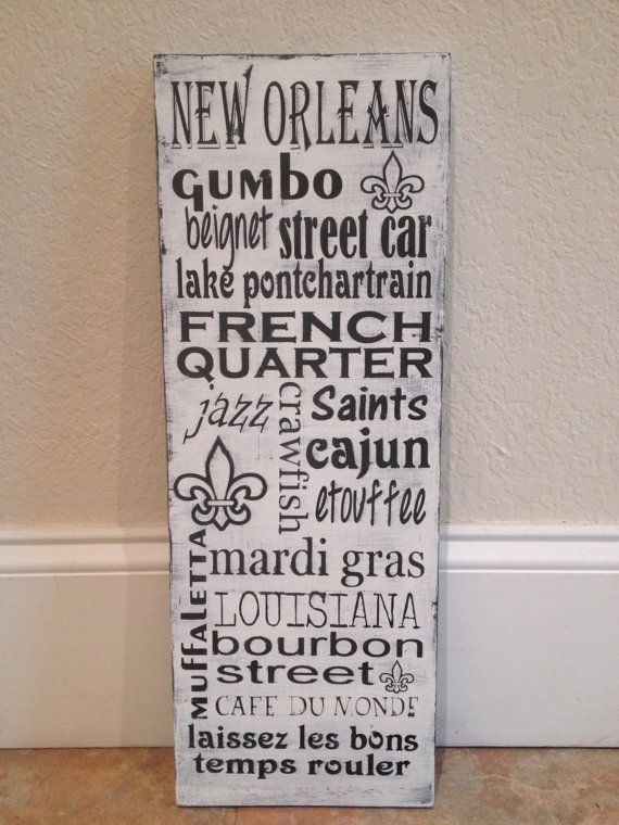 Personalized Wooden Distressed New Orleans by SwirlyTwirlyDesigns