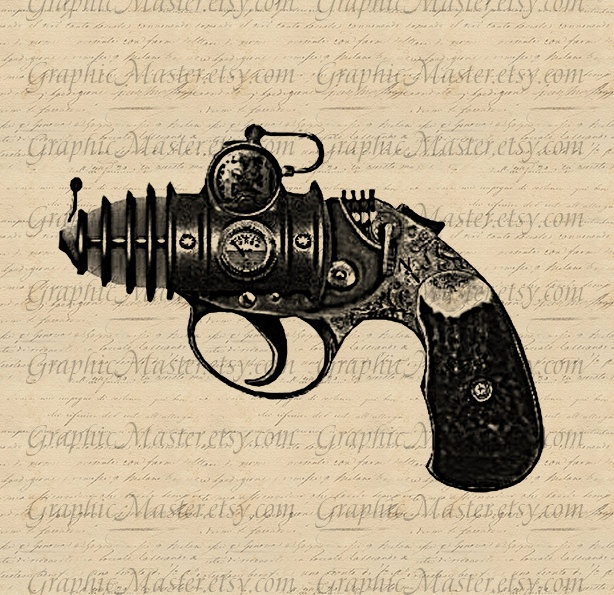 Steampunk Weapon Gun Printable Graphics Digital Collage Sheet Image Download Iron On Transfer Prints Fabric Pillows Tea Towels Tote Bags